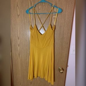 Mustard yellow strappy skater dress